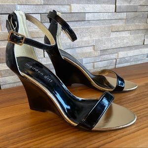Madden girl patent leather ankle wedge heels black